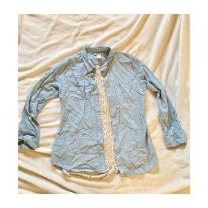 Denim Button Up w/ Lace Back